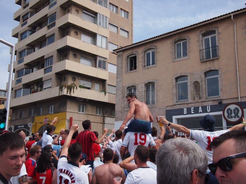 Fans de Inglaterra en Marsella fotografía de archivo libre de regalías