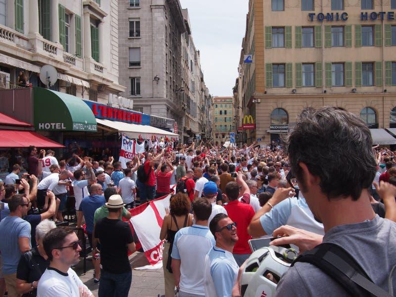 Fans de Inglaterra en Marsella fotos de archivo libres de regalías