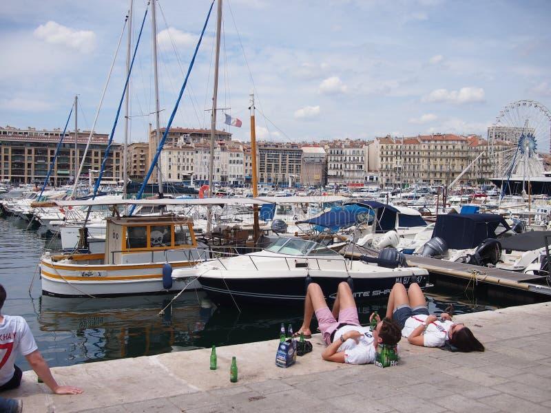 Fans de Inglaterra en Marsella fotos de archivo