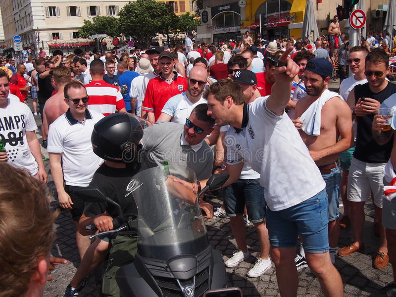 Fans de Inglaterra en Marsella fotografía de archivo