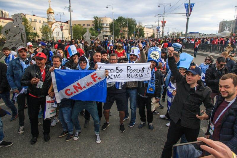 Fans de l'Uruguay dans Ekaterinburg photo libre de droits