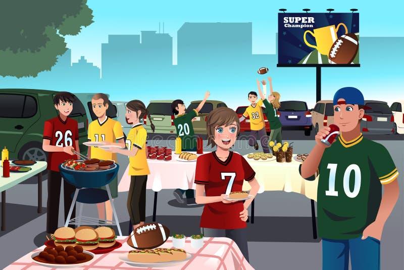 Fans del fútbol americano que tienen un partido de puerta posterior ilustración del vector