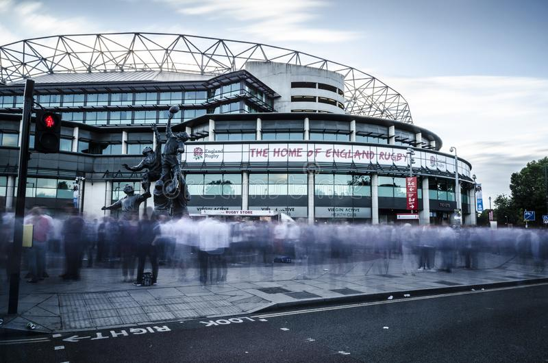 Fans en el Twickenham Stadium fotos de archivo