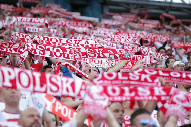 Fans för Inernational vänliga fotbolllek med scarves royaltyfria foton