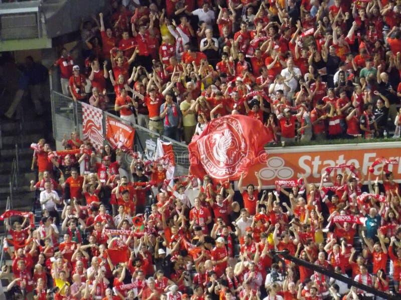 Fans för Liverpool fotbollklubba royaltyfri foto