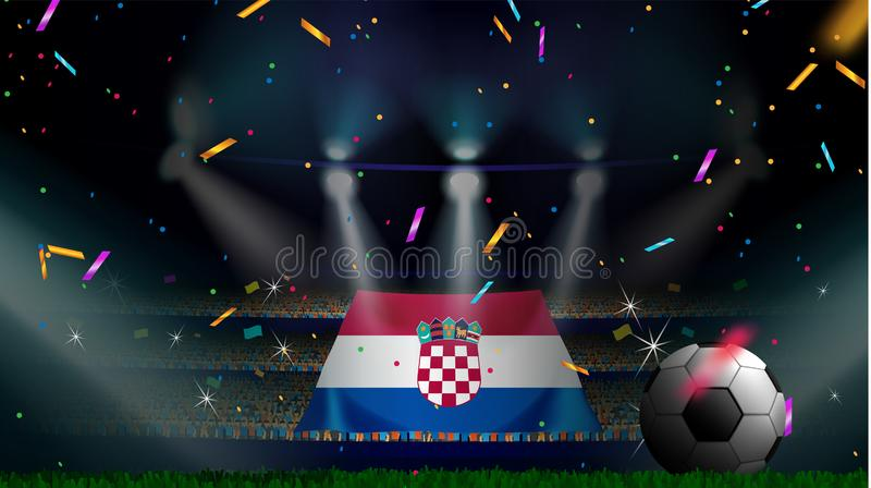 Fans hold the flag of Croatia among silhouette of crowd audience in soccer stadium with confetti to celebrate football game. Concept design for football result stock image