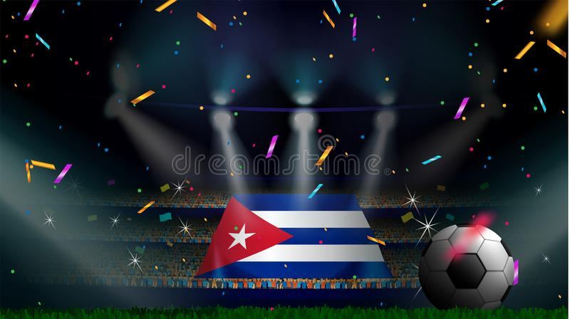 Fans hold the flag of Cuba among silhouette of crowd audience in soccer stadium with confetti to celebrate football game. Concept. Design for football result royalty free stock image