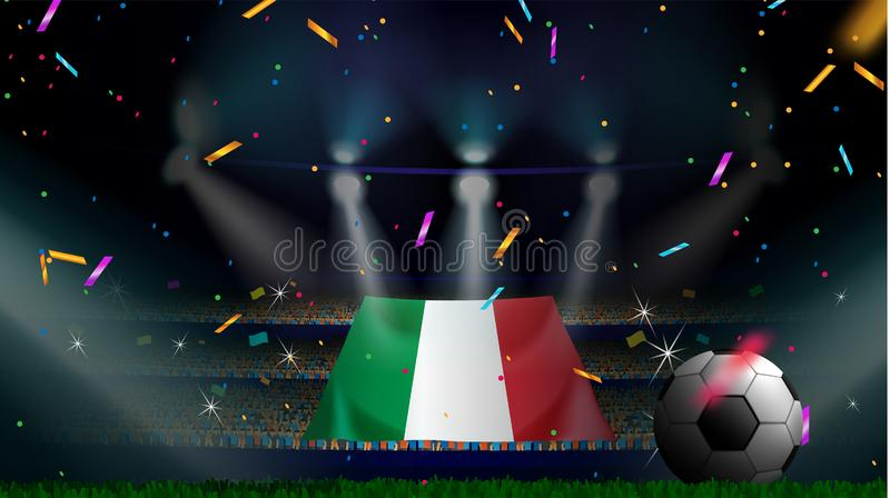 Fans hold the flag of Italy among silhouette of crowd audience in soccer stadium with confetti to celebrate football game. Concept royalty free illustration