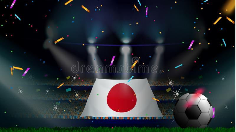 Fans hold the flag of Japan among silhouette of crowd audience in soccer stadium with confetti to celebrate football game. Concept stock illustration