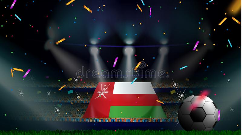 Fans hold the flag of Oman among silhouette of crowd audience in soccer stadium with confetti to celebrate football game. Concept. Design for football result royalty free stock photo