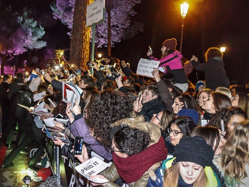 Fans italiennes de Leonardo DiCaprio images libres de droits