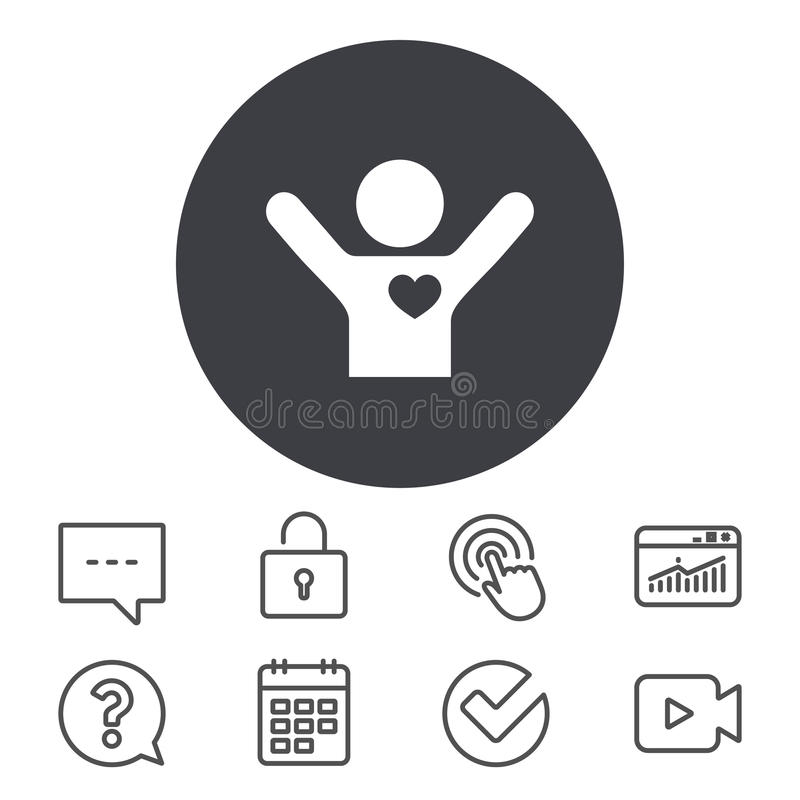 Fans love icon. Man raised hands up sign. royalty free illustration