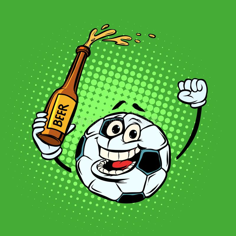 Fans mit einer Flasche Bier Fußballfußball Lustiges characte stock abbildung