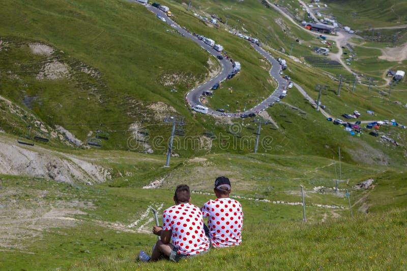 Fans in Polka Dot Jerseys - Tour de France 2018 stock photos