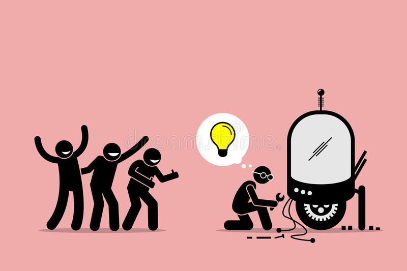 Fans Praising and Supporting an Inventor for Creating New Idea and Making New Thing. Artwork illustration depicts fanboys, supporters, followers, and inventor royalty free illustration