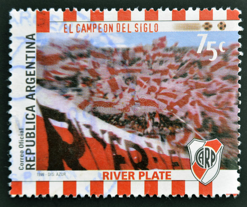 Fans of River Plate. A stamp printed in Argentina shows the fans of River Plate, circa 1999 royalty free stock image