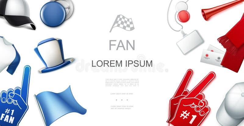 Fans rouges et calibre bleu d'accessoires illustration de vecteur