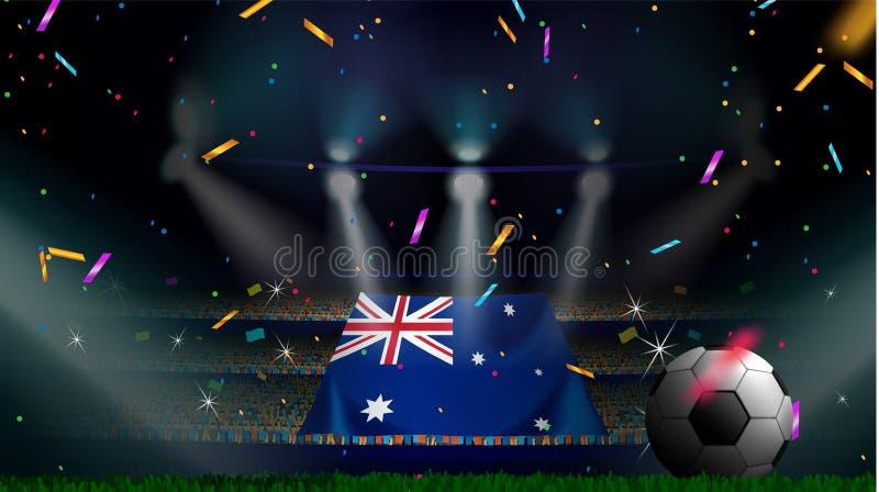 Fans rymmer flaggan av Australien bland kontur av folkmassaåhörare i fotbollstadion med konfettier för att fira fotbollleken vektor illustrationer
