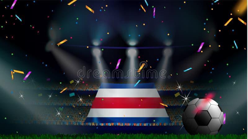 Fans rymmer flaggan av Costa Rica bland kontur av folkmassaåhörare i fotbollstadion med konfettier för att fira fotbollleken stock illustrationer