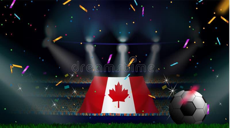 Fans rymmer flaggan av Kanada bland kontur av folkmassaåhörare i fotbollstadion med konfettier för att fira fotbollleken royaltyfri illustrationer