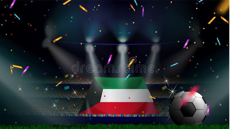 Fans rymmer flaggan av Kuwait bland kontur av folkmassaåhörare i fotbollstadion med konfettier för att fira fotbollleken royaltyfri illustrationer