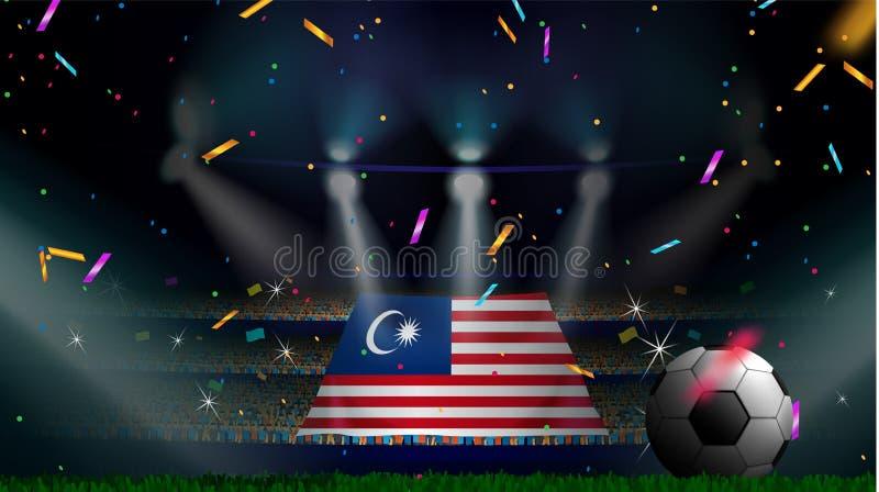 Fans rymmer flaggan av Malaysia bland kontur av folkmassaåhörare i fotbollstadion med konfettier för att fira fotbollleken royaltyfri illustrationer