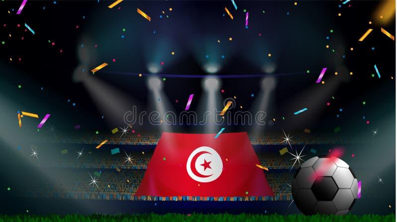 Fans rymmer flaggan av Tunisien bland kontur av folkmassaåhörare i fotbollstadion med konfettier för att fira fotbollleken stock illustrationer