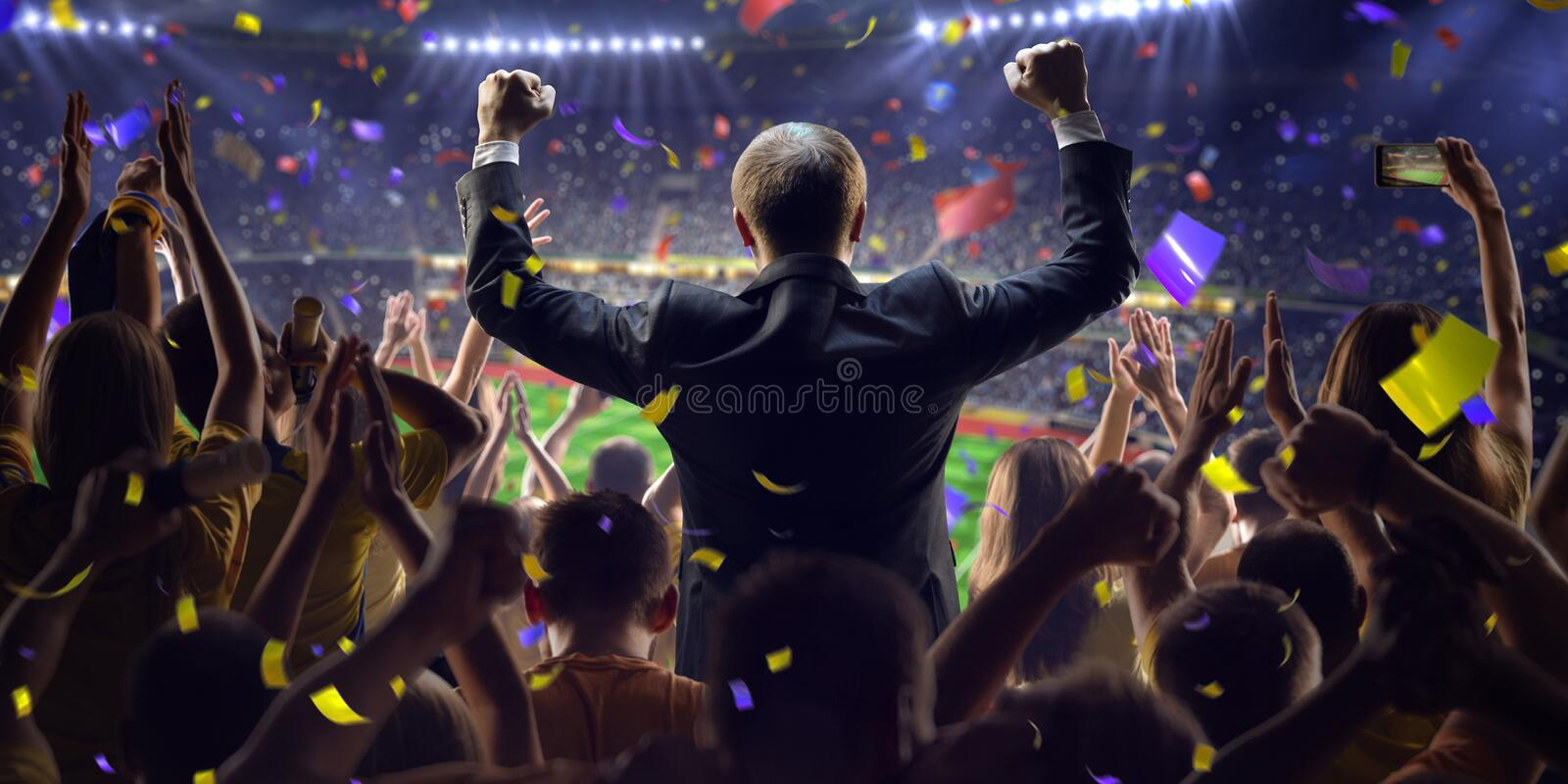 Fans on stadium game businessman royalty free stock photos