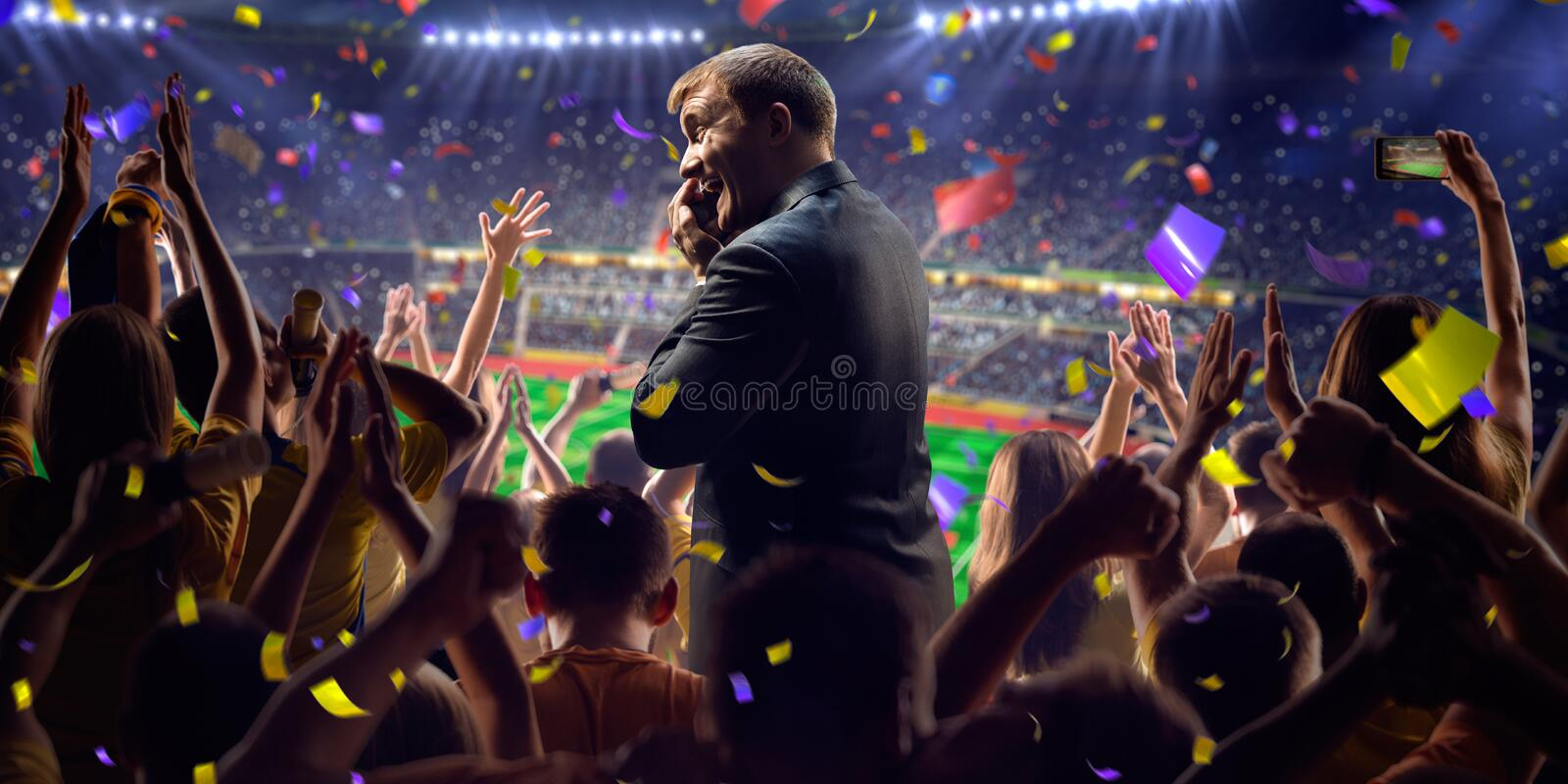 Fans on stadium game businessman stock photo
