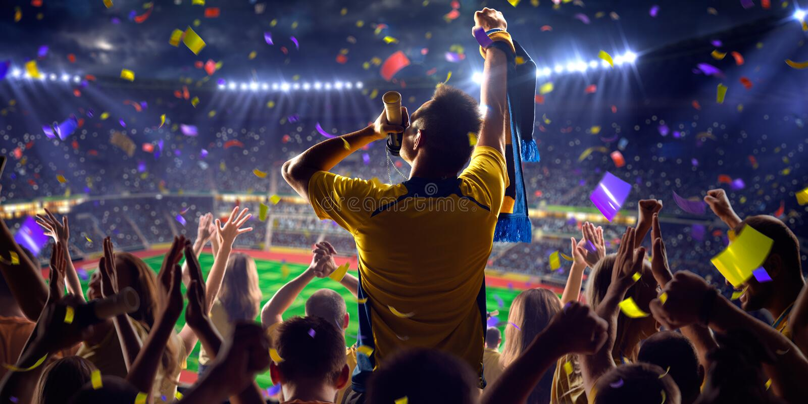 Fans on stadium game. Fans on stadium soccer game Confetti and tinsel stock photos