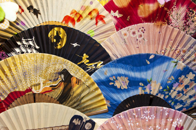 Fans tradicionales japonesas imagenes de archivo