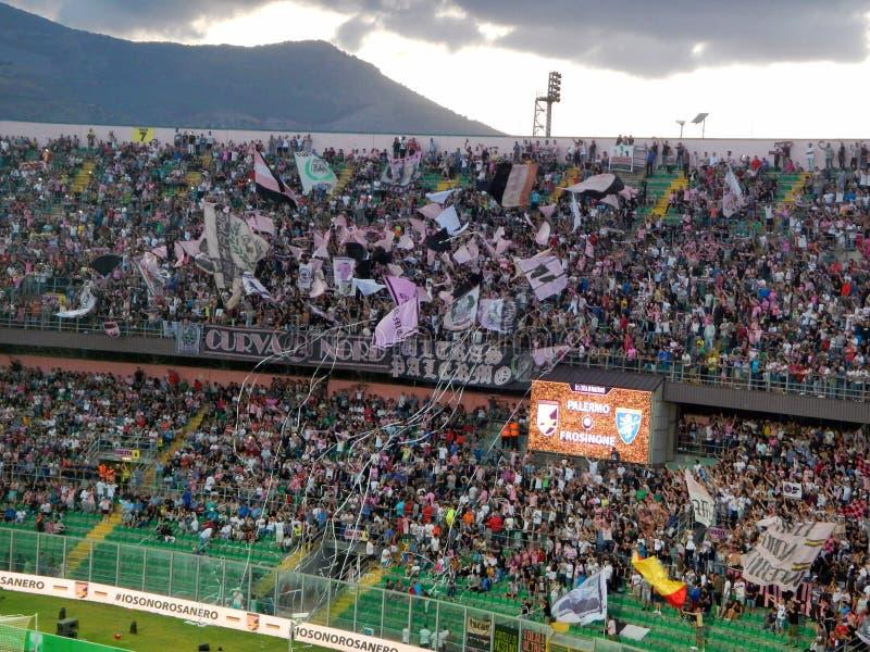 PALERMO, ITALIA - June 13, 2018 - US Città di Palermo vs Frosinone Calcio - Serie B 2017-2018 Playoff Final. Fans of US Città di Palermo show their support royalty free stock image