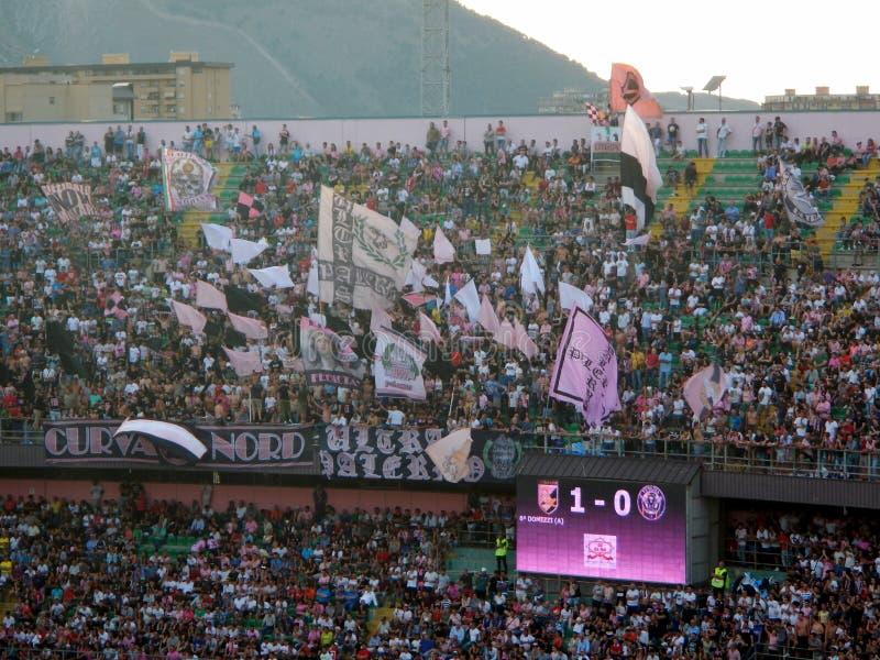 PALERMO, ITALIA - June 10, 2018 - US Città di Palermo vs Venezia - Serie B 2017-2018 Playoff. Fans of US Citta di Palermo show their support during the Serie stock image