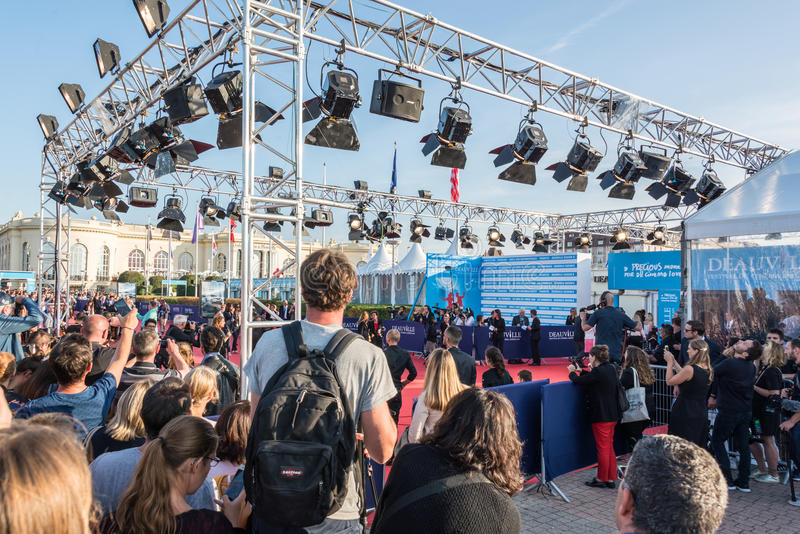 Fans waiting for celebrities on the red carpet at the 43rd Deauville American Film festival. On September 2, 2017 in Deauville, France stock images