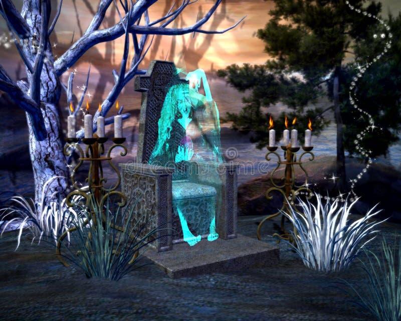 Fantôme effrayant de sorcière de Halloween se reposant dans une chaise en pierre tenant une sphère en verre avec le paysage hanté illustration stock