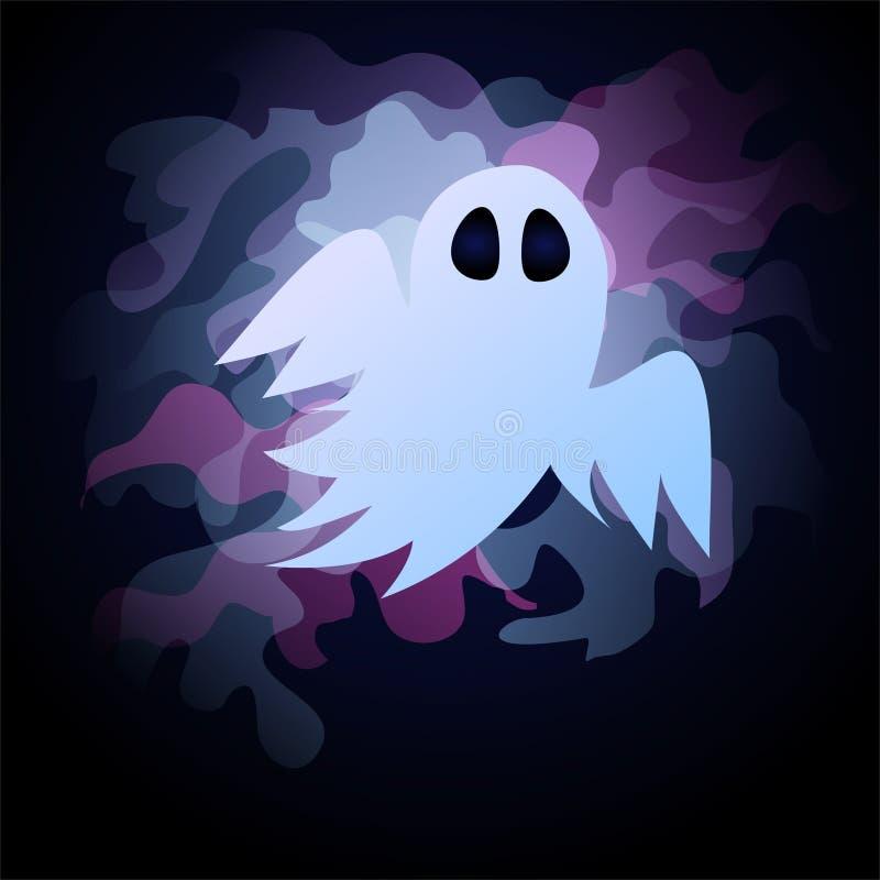 Fantôme mignon en l'honneur de Halloween Carte postale pour les vacances illustration de vecteur