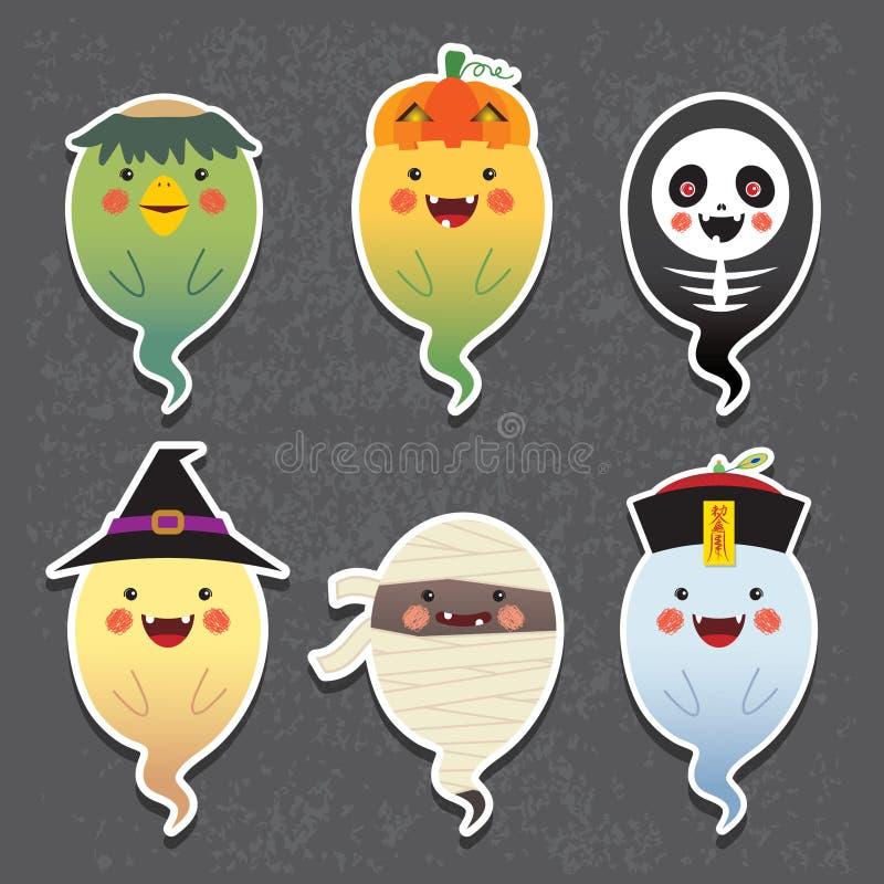 Fantômes de Halloween de bande dessinée - lutin de rivière de kappa, lanterne du cric o, squelette, sorcière, maman et zombi chin illustration de vecteur
