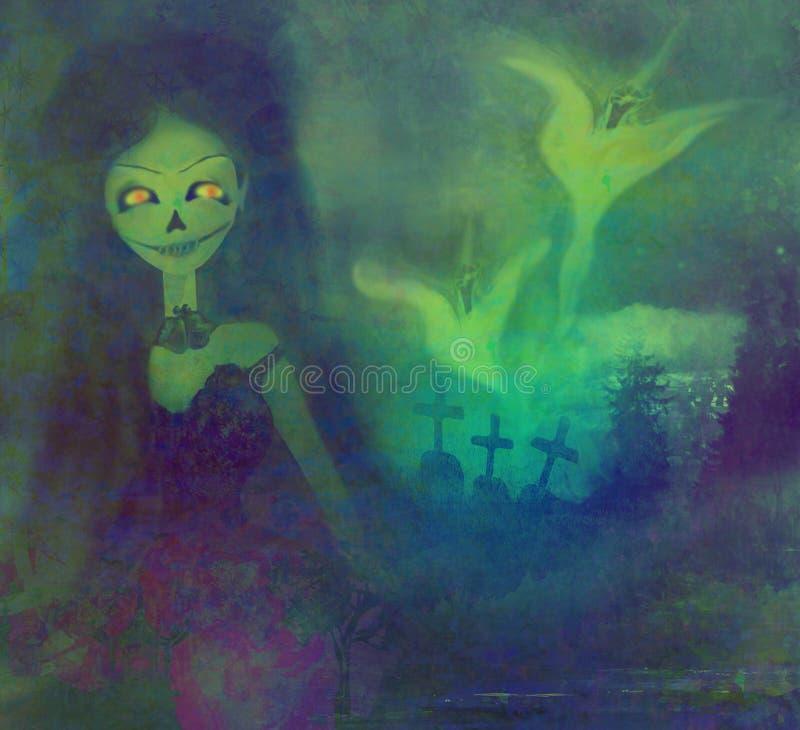 Fantôme effrayant flottant sur un cimetière illustration de vecteur