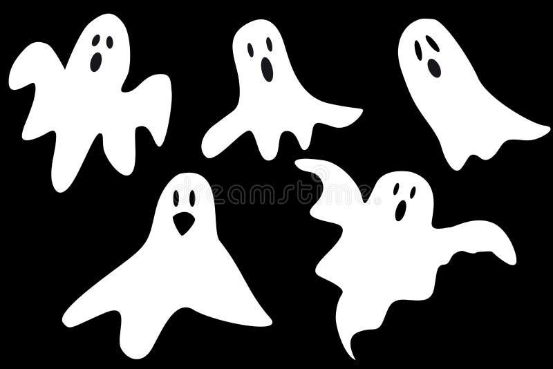 Fantômes de bande dessinée illustration de vecteur