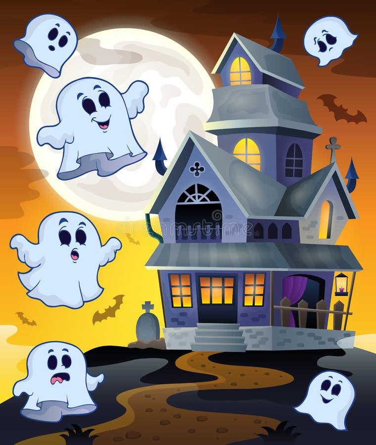 Fantômes volant autour de la maison hantée illustration de vecteur
