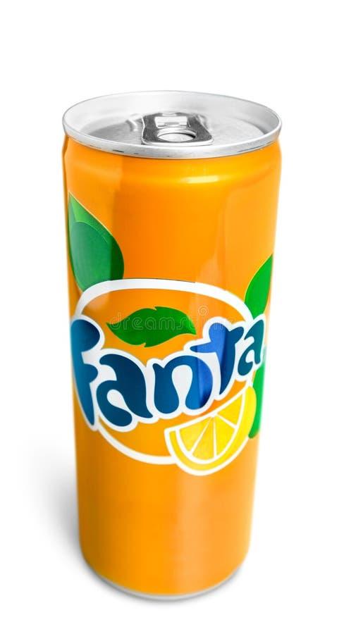 Fanta Orange over witte achtergrond royalty-vrije stock fotografie
