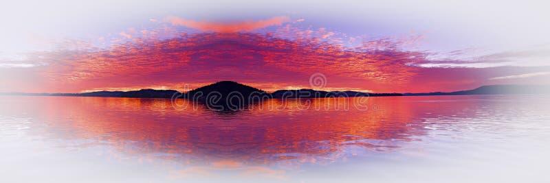 Fantacy cramoisi de paysage marin d'île avec des réflexions de l'eau photographie stock