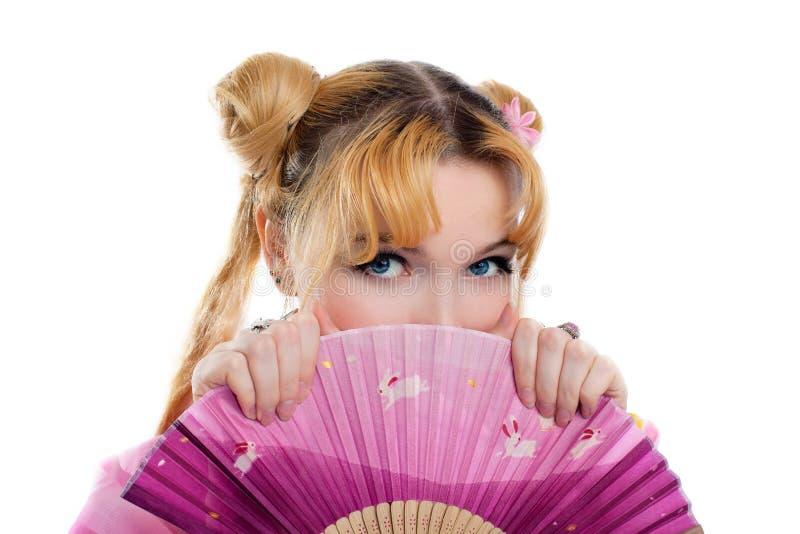 fantail ομορφιάς cosplay κιμονό δορών κ στοκ εικόνες με δικαίωμα ελεύθερης χρήσης