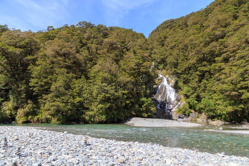 Fantail Falls, New Zealand stock photos