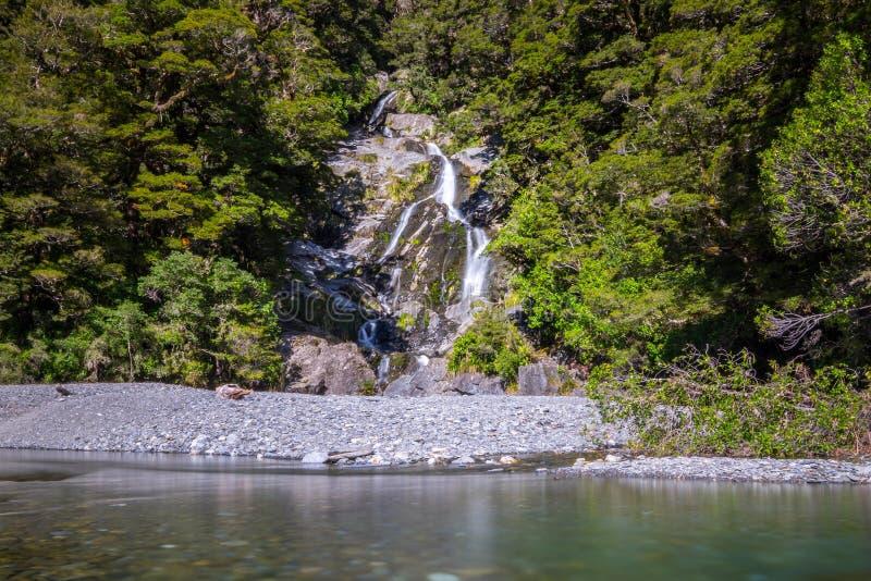 Fantail Falls at Mt Aspiring National Park, New Zealand. royalty free stock image