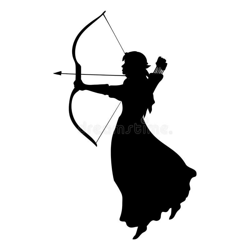 Fantasía antigua de la mitología de la silueta del duende ilustración del vector