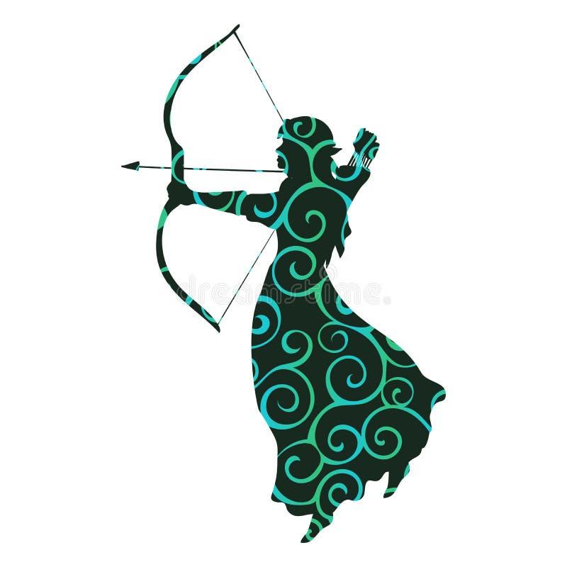 Fantasía antigua de la mitología de la silueta del modelo del duende libre illustration