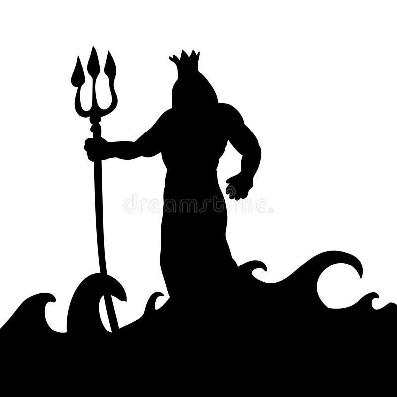 Fantasía antigua de la mitología de la silueta de dios de Poseidon stock de ilustración