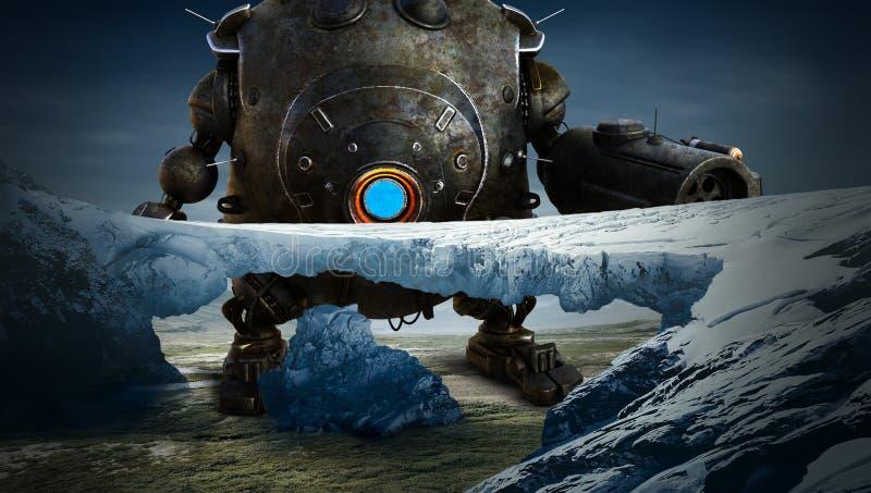 Fantasía de la ciencia ficción, robot, planeta extranjero stock de ilustración