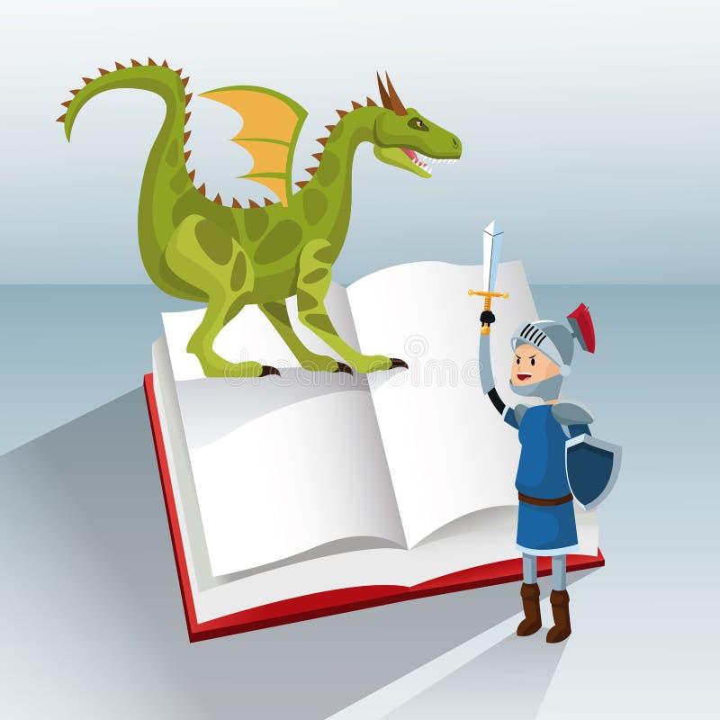 Fantasía del cuento del libro del caballero del dragón stock de ilustración
